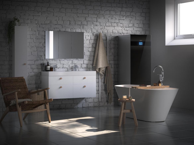Värmepump från IVT i badrummet på en villa i Örebro