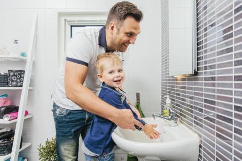 Varmt vatten för handtvätt